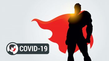 Super hero with COVID-19 mask label